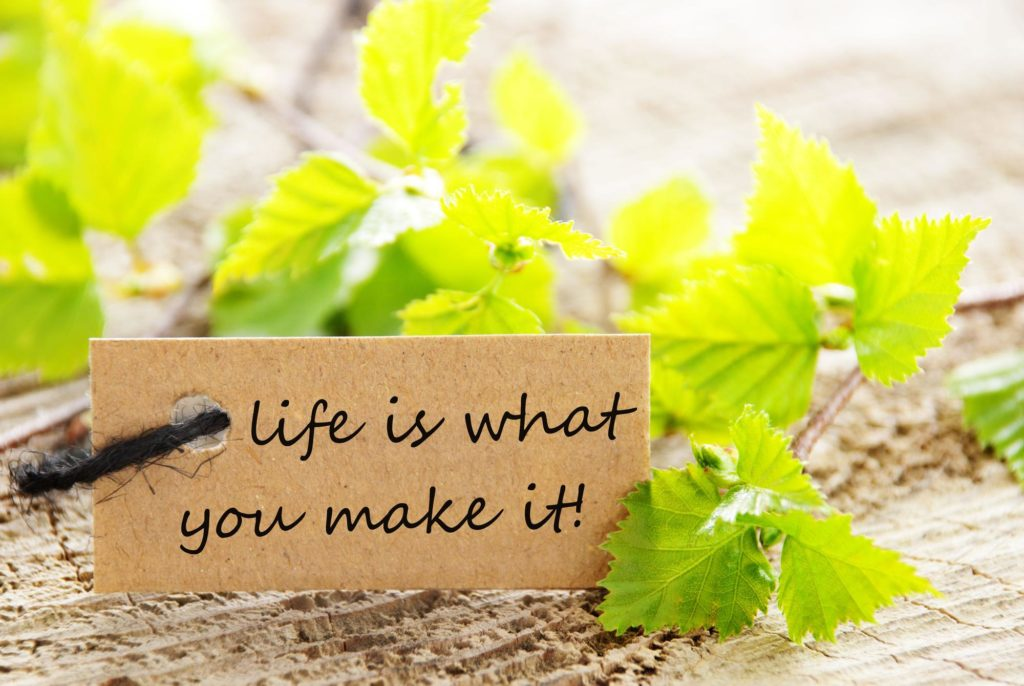 A Natural Looking Label with Green Leaves and the Saying Life Is What You Make It on it